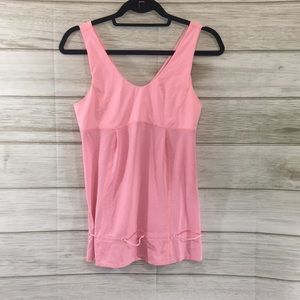 Lululemon Pink Striped Tank With Pull Tie